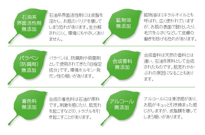 6つの無添加(アルコール・鉱物油・石油系界面活性剤・パラベン・合成香料・着色料無添加)